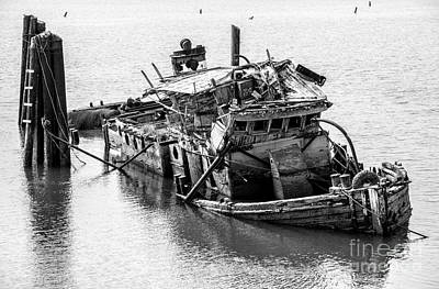 Historic Schooner Photograph - Mary D Hume Shipwreck - Rogue River Oregon by Gary Whitton