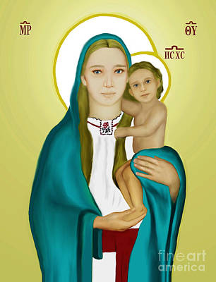 Mother Mary Digital Art - Mary Holy Mother Of God And Child Jesus  Icon by Zeljko Bilandzic