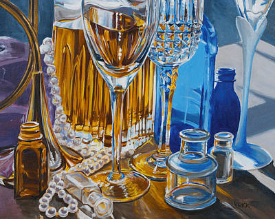 Mary Lou's Bottles Print by Lisa Frick
