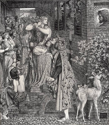Mary Magdalene At The Door Of Simon Print by Dante Gabriel Charles Rossetti