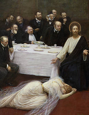Mary Magdalene In The House Of The Pharisee Print by Jean Beraud