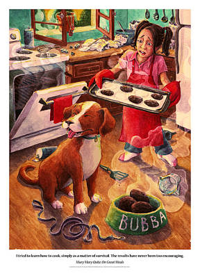 Bright Watercolor Portrait Bright Watercolor Painting - Mary Mary Quite On Great Meals by David Condry