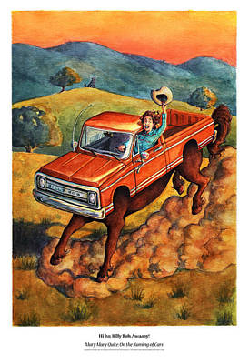 Bright Watercolor Portrait Bright Watercolor Painting - Mary Mary Quite On The Naming Of Cars by David Condry