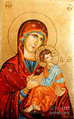 Mary With Jessus R.2 Print by Sorin Apostolescu
