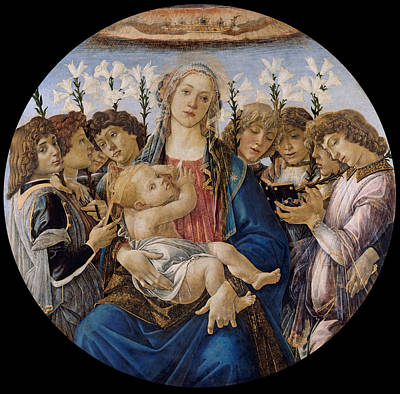 Angel Art Painting - Mary With The Child And Singing Angels by Sandro Botticelli