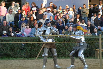 Aged Photograph - Maryland Renaissance Festival - Jousting And Sword Fighting - 121238 by DC Photographer