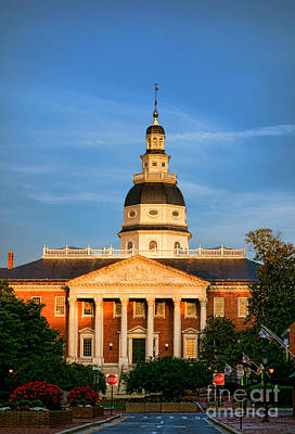 Maryland State House At Sunset Print by Olivier Le Queinec