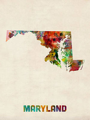 Geography Digital Art - Maryland Watercolor Map by Michael Tompsett