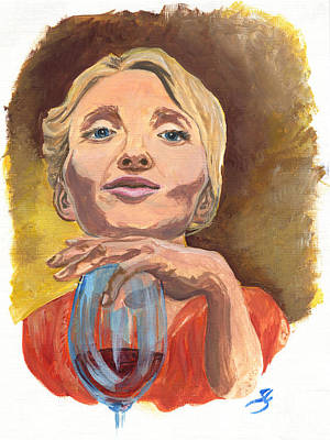 Women With Wine Painting - Marylin Merlot by Jana Goode