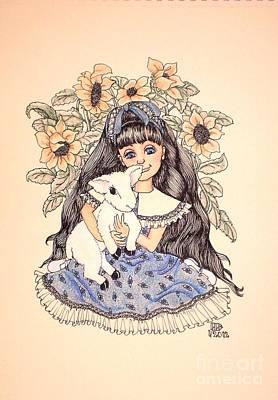 Mary's Lamb Original by Lenora Brown