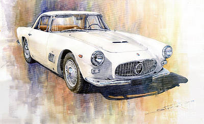 Watercolor Painting - Maserati 3500gt Coupe by Yuriy  Shevchuk