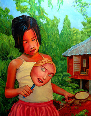 Filipina Painting - Mask by Michael Jadach