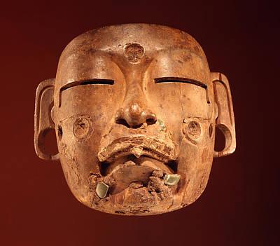 Precolumbian Photograph - Mask, Olmec Culture Wood by Pre-Columbian