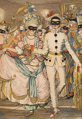 Masked Ball Print by Konstantin Andreevic Somov