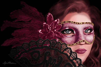 Sequin Digital Art - Masked I by April Moen