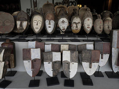 Large Group Of Objects Photograph - Masks For Sale At Large Craft Store by Panoramic Images