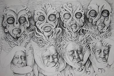 Face Drawing - Masks by Moshfegh Rakhsha