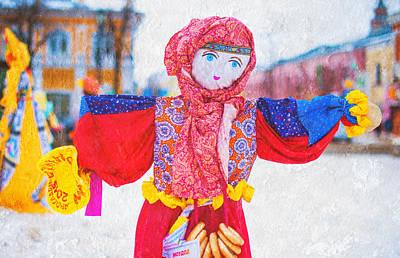 Maslenitsa Dolls 4. Russia Print by Jenny Rainbow