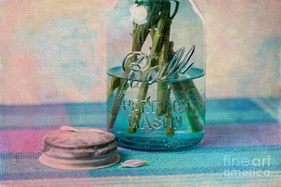 Water Jars Photograph - Mason Jar Vase by Kay Pickens