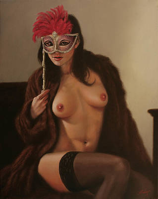 Sepia Chalk Painting - Masquerade IIi by John Silver