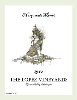 Lopez Drawing - Masquerade Merlot by Julio Lopez