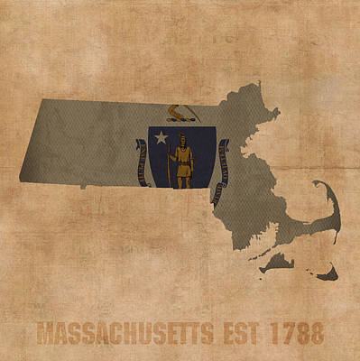 Massachusetts State Flag Map Outline With Founding Date On Worn Parchment Background Print by Design Turnpike