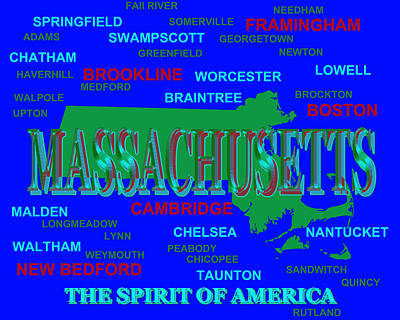 Massachusetts State Pride Map Silhouette  Print by Keith Webber Jr