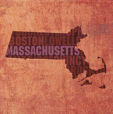 Mixed Media - Massachusetts Word Art State Map On Canvas by Design Turnpike