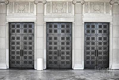 Entrance Memorial Photograph - Massive Doors by Olivier Le Queinec