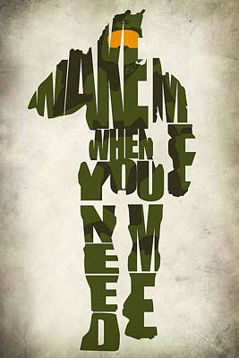 Typography Digital Art - Master Chief by Ayse Deniz