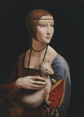 Medieval Painting - Master Copy Of Da Vinci Lady With An Ermine by Terry Guyer