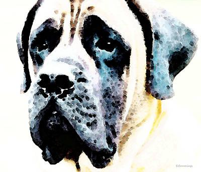 Cute Dog Digital Art - Mastif Dog Art - Misunderstood by Sharon Cummings