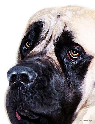 Mastiff Dog Art - Sad Eyes Print by Sharon Cummings
