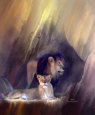 Lion Art Mixed Media - Mates by Carol Cavalaris