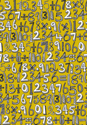 Mathematics Drawing - Math Doodle Yellow by Sharon Turner