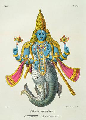 Incarnation Drawing - Matsyavatara Or Matsya, From Linde by A. Geringer