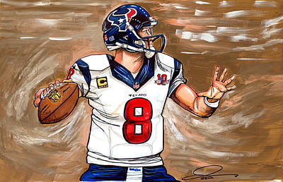 Football Art Drawing - Matt Schaub by Dave Olsen
