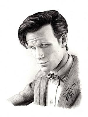 Doctor Who Drawing - Matt Smith 2 by Rosalinda Markle