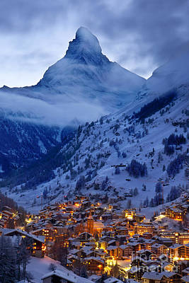 Snowy Night Photograph - Matterhorn At Twilight by Brian Jannsen