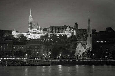 Matthias Church Night Bw Print by Joan Carroll