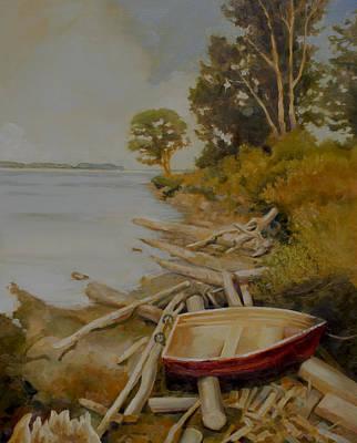 Row Boat Painting - Maude Bay by Sue  Darius