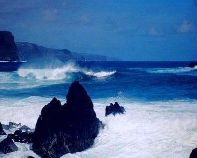 Palms Photograph - Maui Shore At The Keanae Pennisula by J D Owen