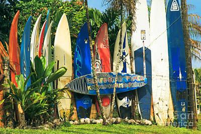 Maui Surfboard Fence - Peahi Hawaii Print by Sharon Mau