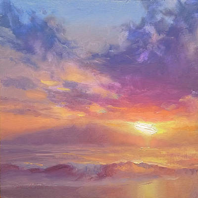 Impressionistic Landscape Painting - Maui To Molokai Hawaiian Sunset Beach And Ocean Impressionistic Landscape by Karen Whitworth