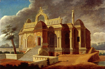 Cupola Painting - Mausoleum With Stone Elephants Signed And Dated by Litz Collection