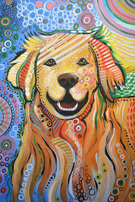 Abstract Dog Painting - Max ... Abstract Dog Art...golden Retriever by Amy Giacomelli