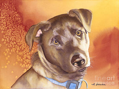 Chocolate Lab Puppy Painting - Max by Amanda Schuster