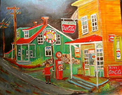 Coca-cols Signs Painting - Max Segal's New Glasgow Store Montreal Memories by Michael Litvack