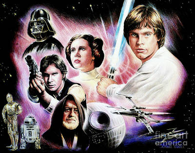 Celebrity Drawing - May The Force Be With You 2nd Version by Andrew Read