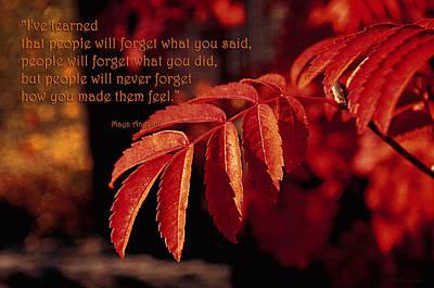 Maya Angelou - I've Learned Print by Maria Angelica Maira